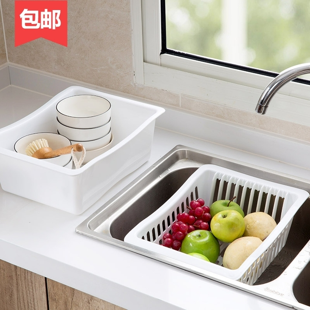 Double Sink Dish Rack Kitchen Basin Bowl Stand Plastic Tray Drainer