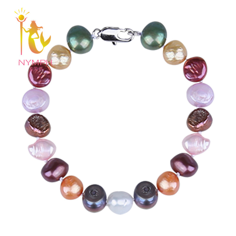 [NYMPH] barocke Perle Armbänder Perle Schmuck Natürliche Süßwasser In Charme Mode Elastische Armreif Für Frauen [TS206]
