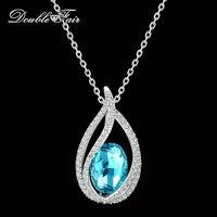 Double Fair Unique Cubic Zirconia Big Blue Crystal Necklace Pendants Silver Color Elegant Wedding Jewelry For