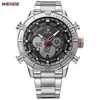 Original Fashion WEIDE LED Men Steel Band Silver Black Watch Sport Watch Digital Quartz Watch Men Functional Wristwatches Clock