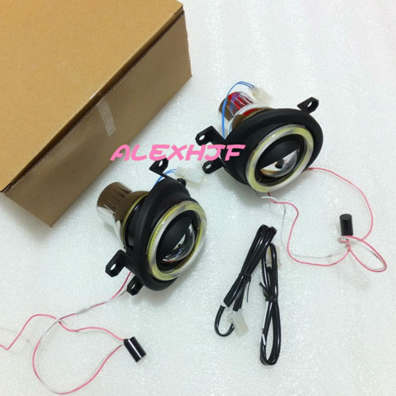 July King Car Bifocal Lens Fog Lamp + COB Angel Eye Rings DRL Case for Toyota Camry Corolla RAV4 Highlander Land Cruiser etc.