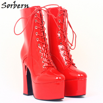 Sorbern Shoes Boots Woman Shiny Red Custom Colors Thick Platform Chunky Shoes Boots For Woman 2018 Shoes Runway Boots Autumn