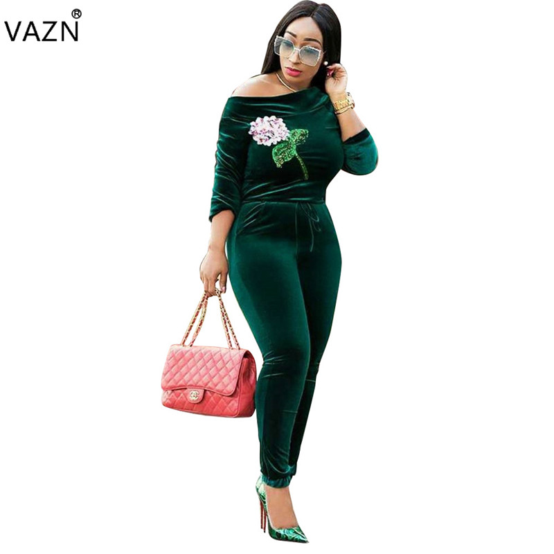 VAZN fashion 2018 Hot Sexy solid full   jumpsuits   women slash-neck full sleeve skinny   jumpsuits   ladies velvet   jumpsuits   BN9128