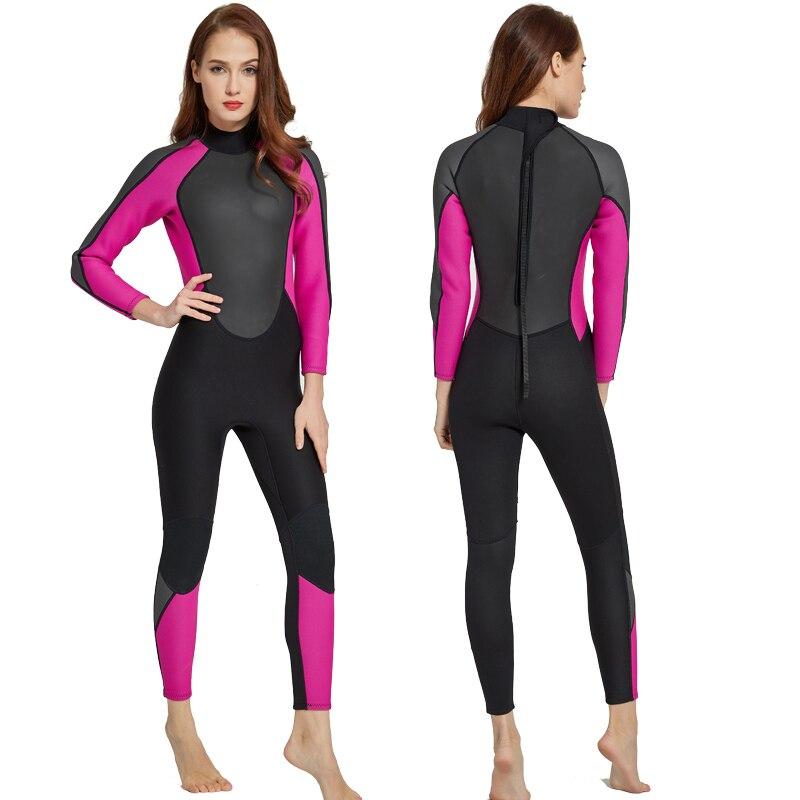 Sbart Women's Wetsuit 3mm Neoprene Wet Suit Full Body One piece Jumpsuit Back Zipper Long Sleeve Pink Black Girls Female Dive
