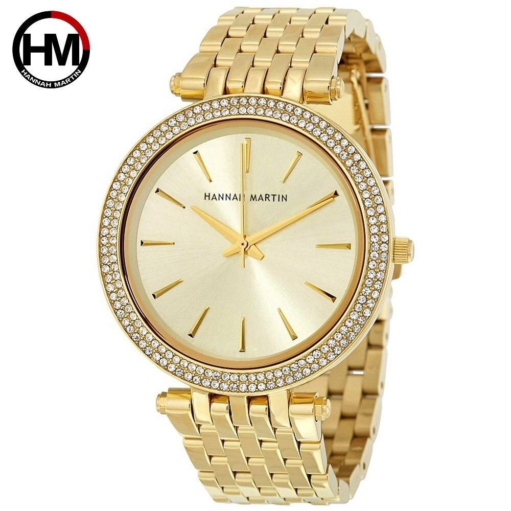 HM Women's Watch Double Rhinestone Cross-border Fashion Stylish And Noble Style Quartz Watch Steel Belt Waterproof Watch