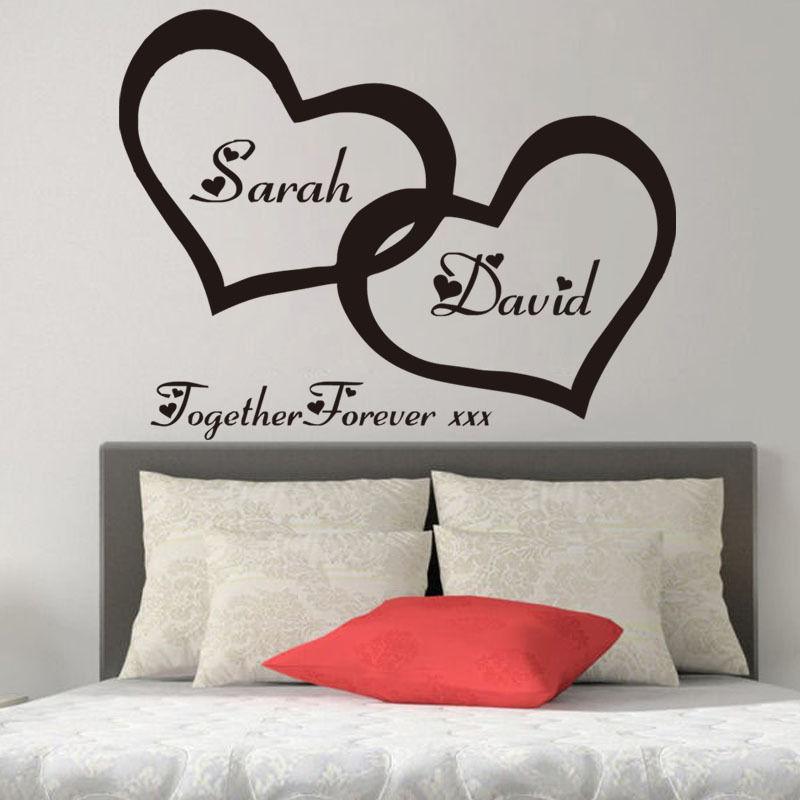 ZN G255 Hearts pasūtījuma personalizētais pāris nosaukums vinila mākslas sienas uzlīme Decal pāris guļamistaba romantiska sienas mājas dekoram
