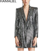 HAMALIEL Spring Women Blazer Coat 2018 Runway Sequins Gilding Shining Long Sleeve Notched Collar Slim Luxury Jacket Long Coat(China)