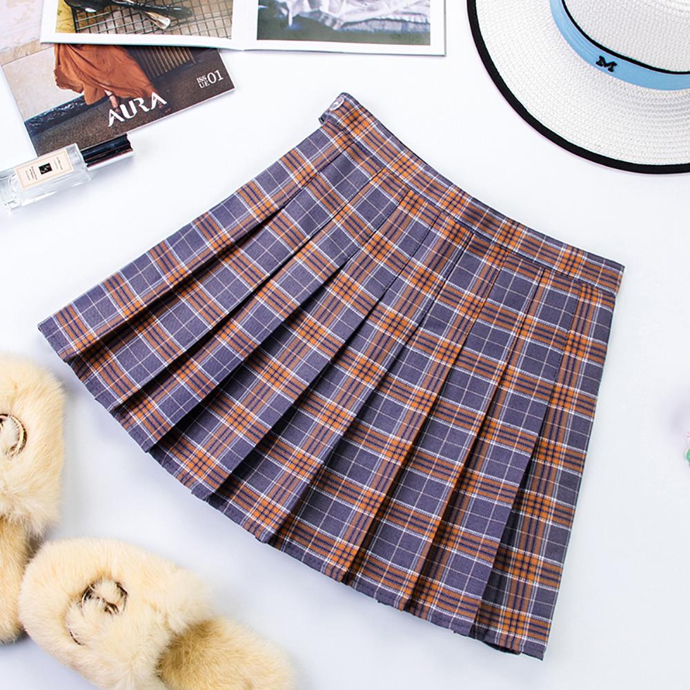 Plus Size Harajuku Short Skirt New Korean Plaid Skirt Women Zipper High Waist School Girl Pleated Plaid Skirt Sexy Mini Skirt 13