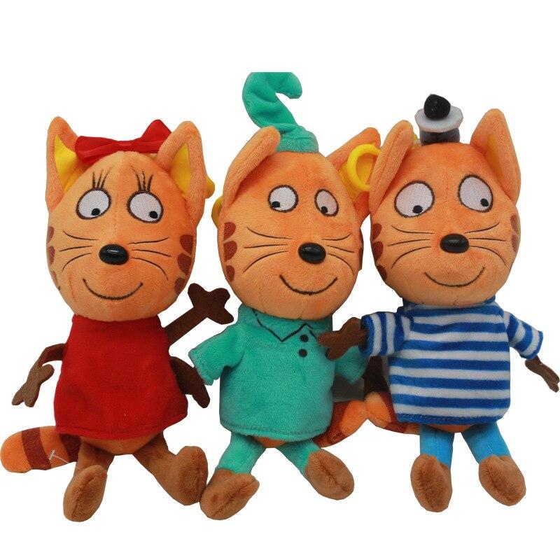 3 pz/lotto Gattini Gatto Farcito Peluche Giocattoli Del Fumetto Russo Tre Gattini Felici Morbido Animali Cat Doll Toy for Kids Bambini regali