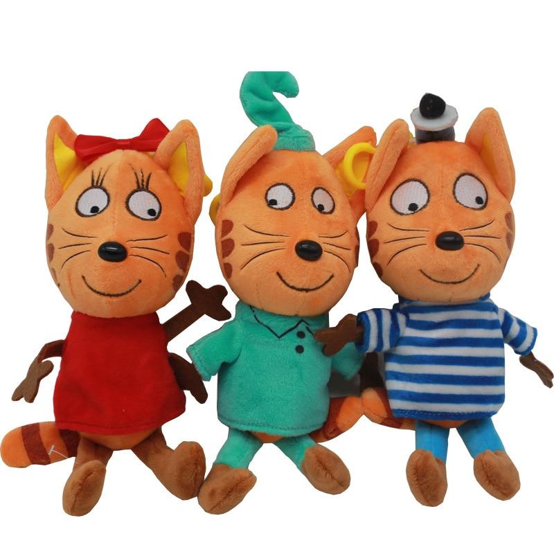 3pcs/lot Russian Cartoon Three Kittens Happy Kittens Cat Stuffed Plush Toys Soft Animals Cat Toy Doll for Kids Children Gifts