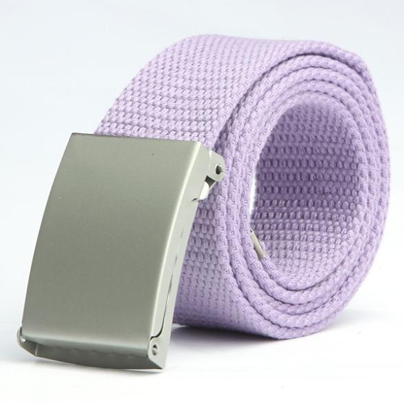 New Fashion Men Women General Belts Canvas Unisex Candy Color Belt Solid Buckle Military Belts For Jeans Cowboy Pants 110cm