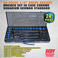 NEW 24 Piece 1 2 Drive Wrench Socket Set Ratchet Spanner Extension Adaptor CR V