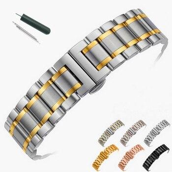 14 millimetri 16 millimetri 18 millimetri 20 millimetri 22 millimetri 24 millimetri In Acciaio Inox Watch band Strap Bracciale Cinturino Wristband farfalla Nero Argento Oro Rosa