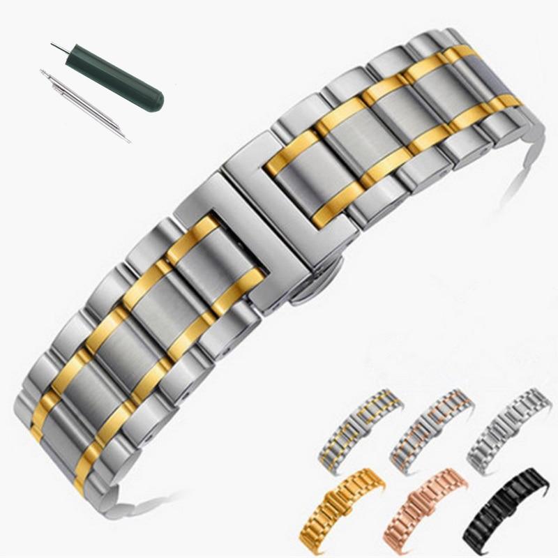 14mm 16mm 18mm 20mm 22mm 24mm en acier inoxydable Bracelet de montre Bracelet Bracelet de montre Bracelet papillon noir argent Rose or