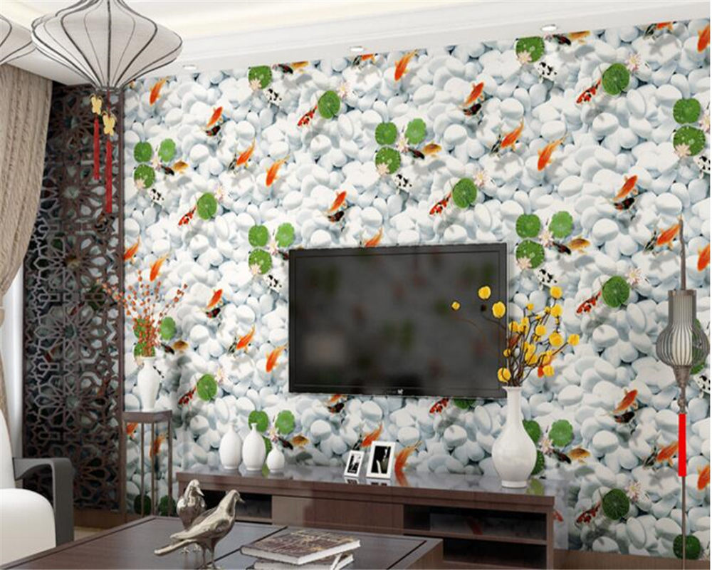 beibehang High-end non-woven 3d wallpaper goldfish pattern wallpaper bedroom living room study background wall papel de parede beibehang high atmospheric non woven