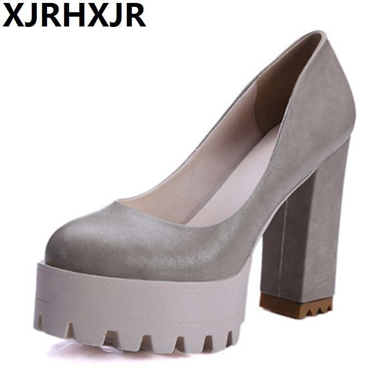 цена на Shoes Woman Leisure Style Comfortable Round Toe Pumps Fashion Platform Slip Black Gray Beige Pink High-heeled Women's Shoes