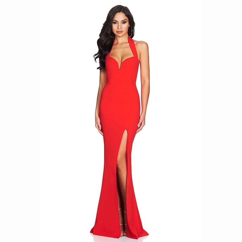 2017 new winter women\'s dress black red halter neck floor length ...