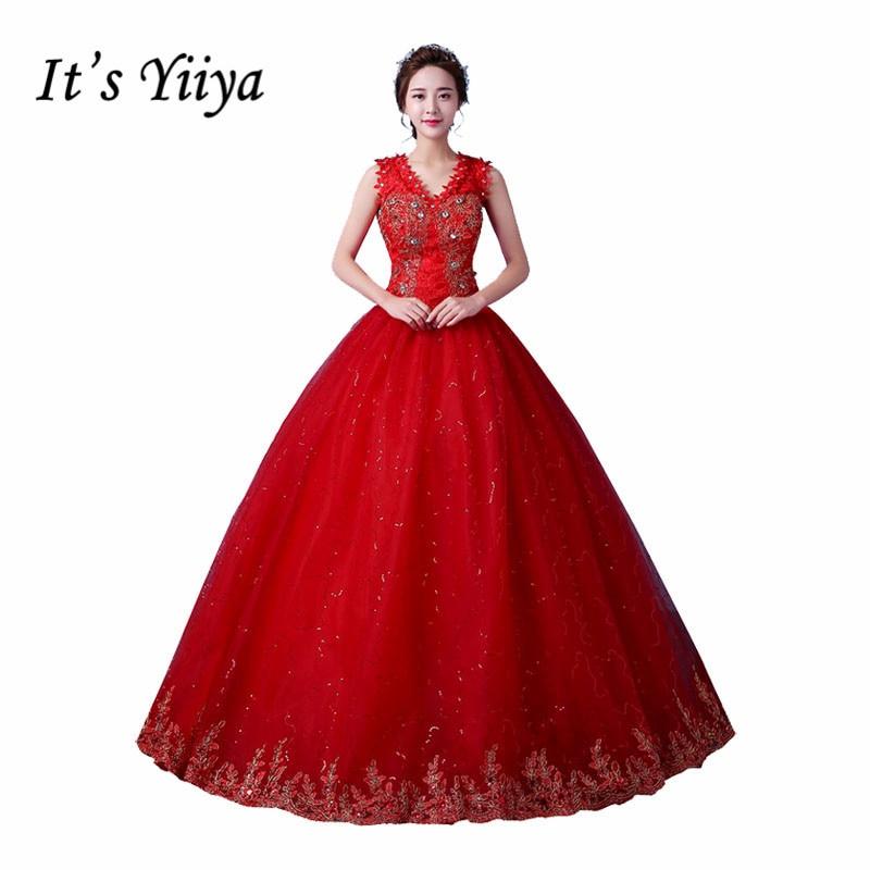 Это yiiya v-образным вырезом Цветы свадебное платье платья без рукавов красный, белый Vestidos De Novia принцесса дешевые свадебные бальные платья XXN169