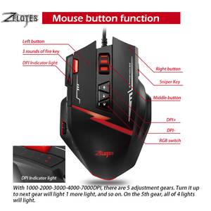 Image 3 - Zelotes C15 Computer Muis Hand Game Gaming Mouse 7000 Dpi 13 Programmeerbare Knoppen Gewicht Tuning Cartridg Gaming Muis