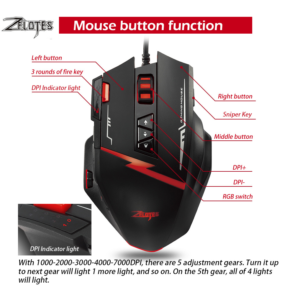 Image 3 - Zelotes C15 computer mouse hand game Gaming Mouse 7000 DPI 13 Programmable Buttons Weight Tuning Cartri gaming mouse-in Mice from Computer & Office
