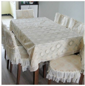 Fabric Lace Table Cloth Chair Covers Rose Nsutite Dining Tablecloth Set 9