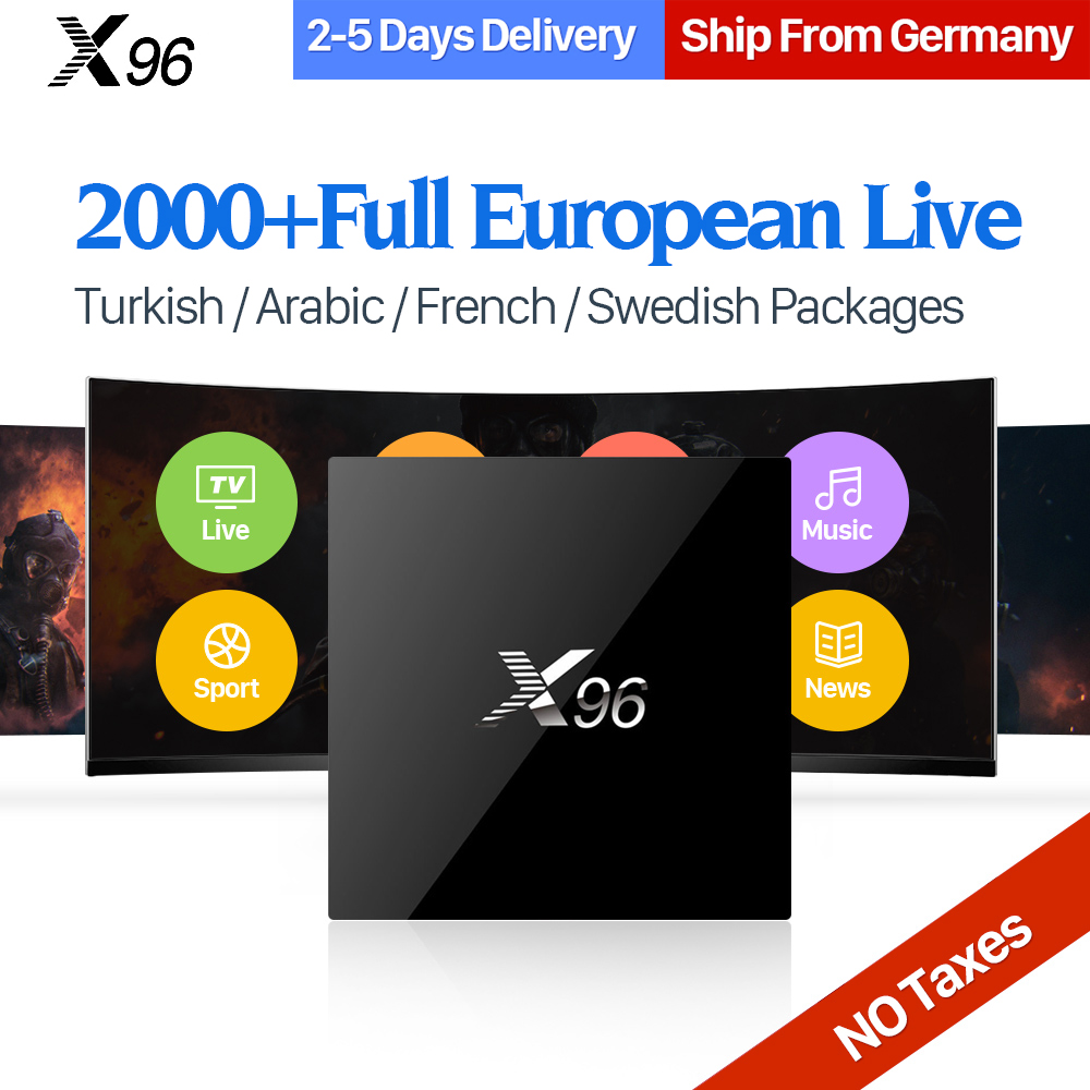 X96 Android 6.0 Tv Box Amlogic S905X Quad Core IPTV Subscription UK DE French Italy Iptv Channels HD Smart TV box Media Player