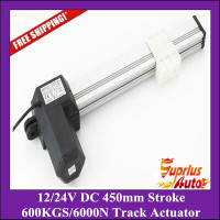 Free Shipping 12/24V 450mm stroke, 1000N load capacity track actuator for electric TV lift .