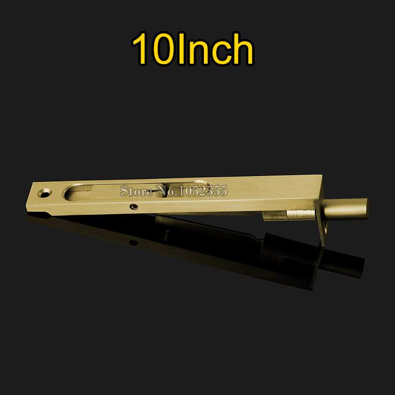 2PCS/lot 10'' Luxury Brass Door Bolt Latch Lever Action Flush Slide Door Lock Bolts high quliaty 6 8 10 12 sus304 stainless steel door bolt security door guard lever action flush latch slide bolt lock k112