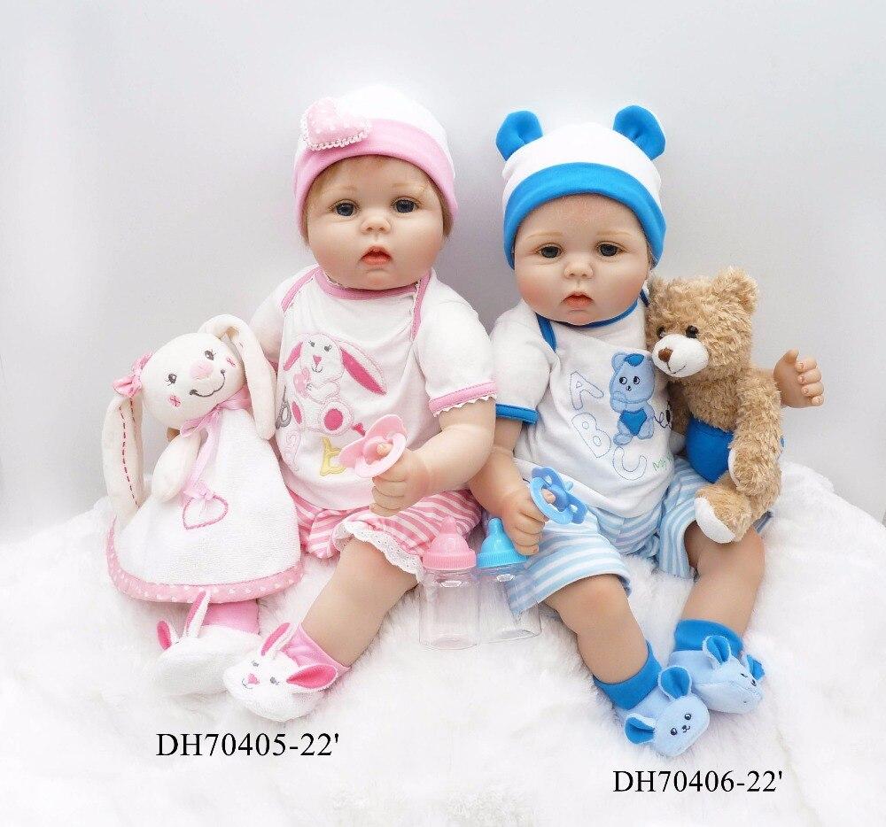 kawaii twins 22 inches reborn dolls 55 cm soft silicone vinyl baby dolls princess reborn bonecas nice clothing plush doll gifts