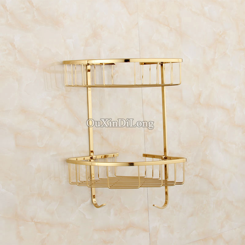 High Quality Gold/Rose Gold Brass Bathroom Shelves With Hook 2-Tier ...