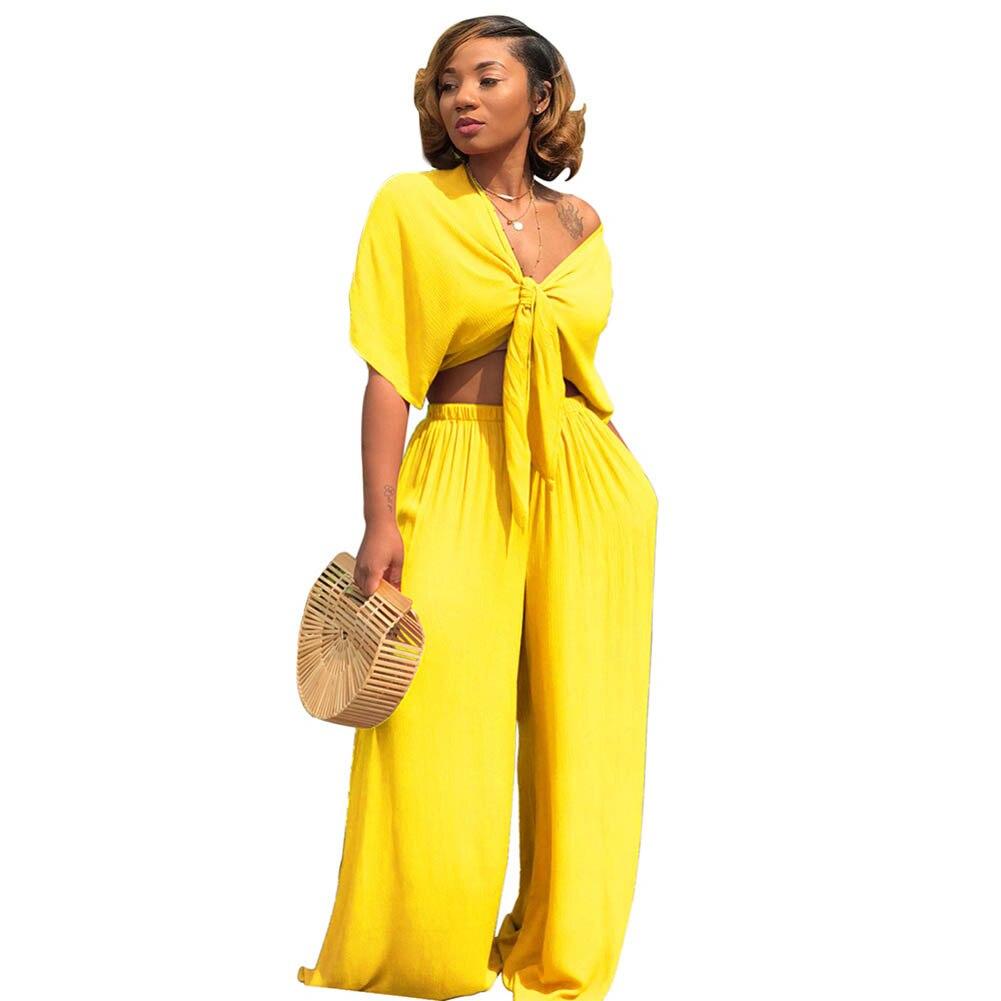 Yissang Spaghetti Strap 2 Stück Hosen Sets 2019 Frauen Sexy Party Night Club Overall Elegante Gelbe Dame Spitze Zwei Pcs Set Anzüge Anzüge & Blazer