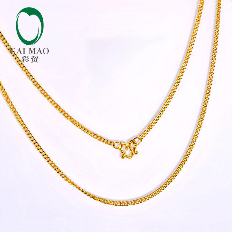 CAIMAO 24K Pure 999 Gold Genuine Womens Necklaces Fine Engagement Exquisite Romantic Gift Trendy 43cm Length