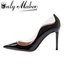 Onlymaker pointed toe pumps women's 10cm patent leather high heels shoes sexy stilettos for party Plus size 15