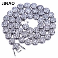 JINAO Gold Silver Color Plated Iced Out Bling Jewelry Hip Hop Necklace Micro Pave CZ Stone
