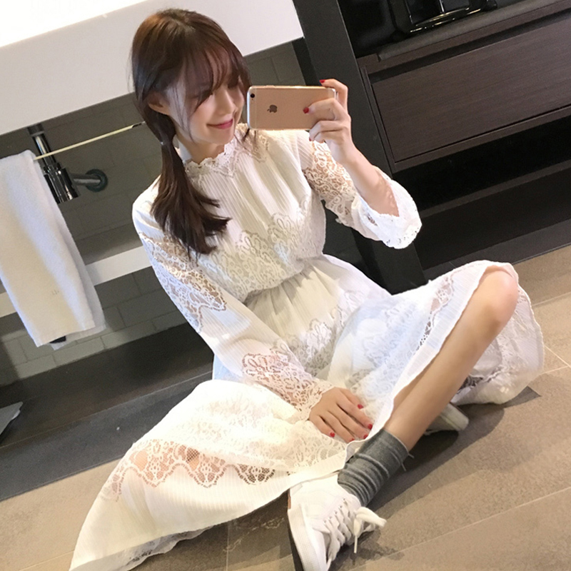 2017 Summer New Preppy Style Vintage Women Lace High Waist Long Dresses Sweater Vest Bud Dress 6596