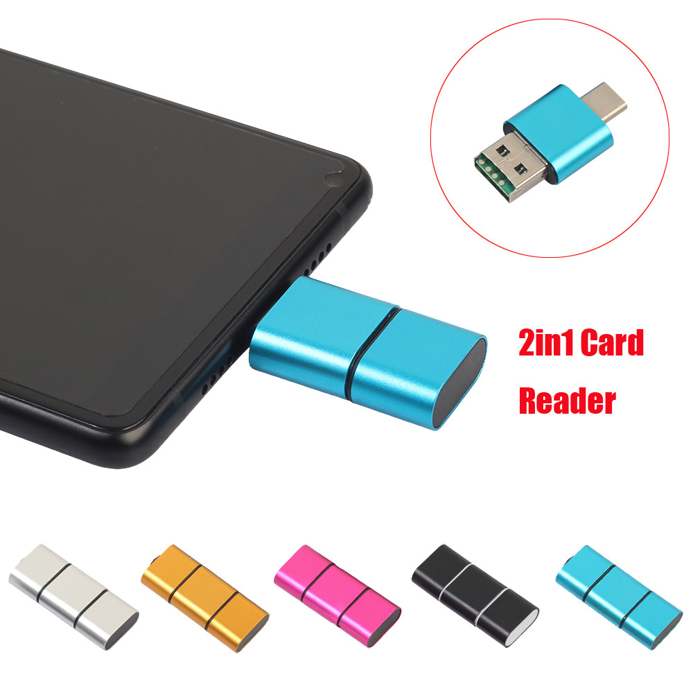 MINI Card Reader Portable OTG Type C To USB 2.0 High Speed Micro SD TF Card Reader Adapter For Android Phone Drop Ship l1026#2