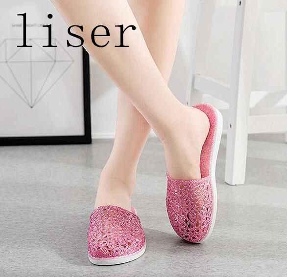 ... liser Crystal Jelly Sandals Shoes Women Summer Slippers Shoes Slides  Baotou Flip Flop Female Footwear Non ... d3bffbe207c1