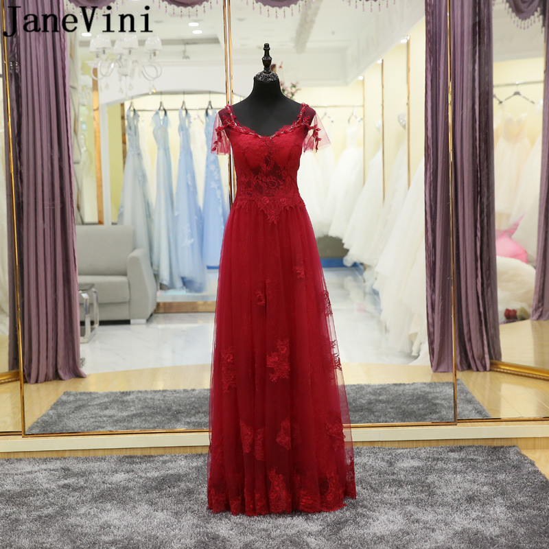 JaneVini Burgundy Beaded Neck Long Ladies   Dresses   For Wedding Party Women Lace Floor Length Flowers   Bridesmaid     Dresses   Girl 2018