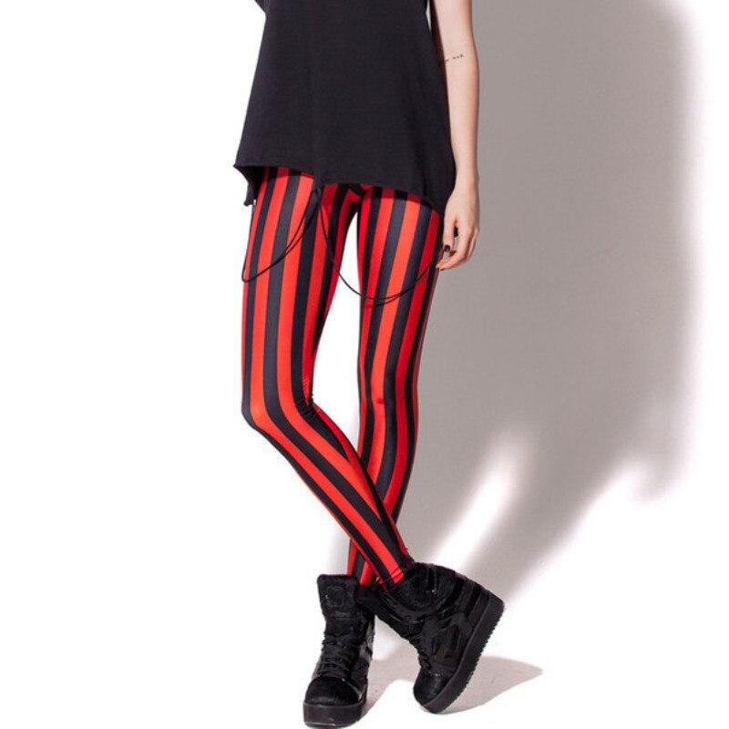 NORMOV Women   Leggings   Red and Black Striped Casual High Waist Leggins Workout Fitness Feminina legin Mujer Elastic Free Size