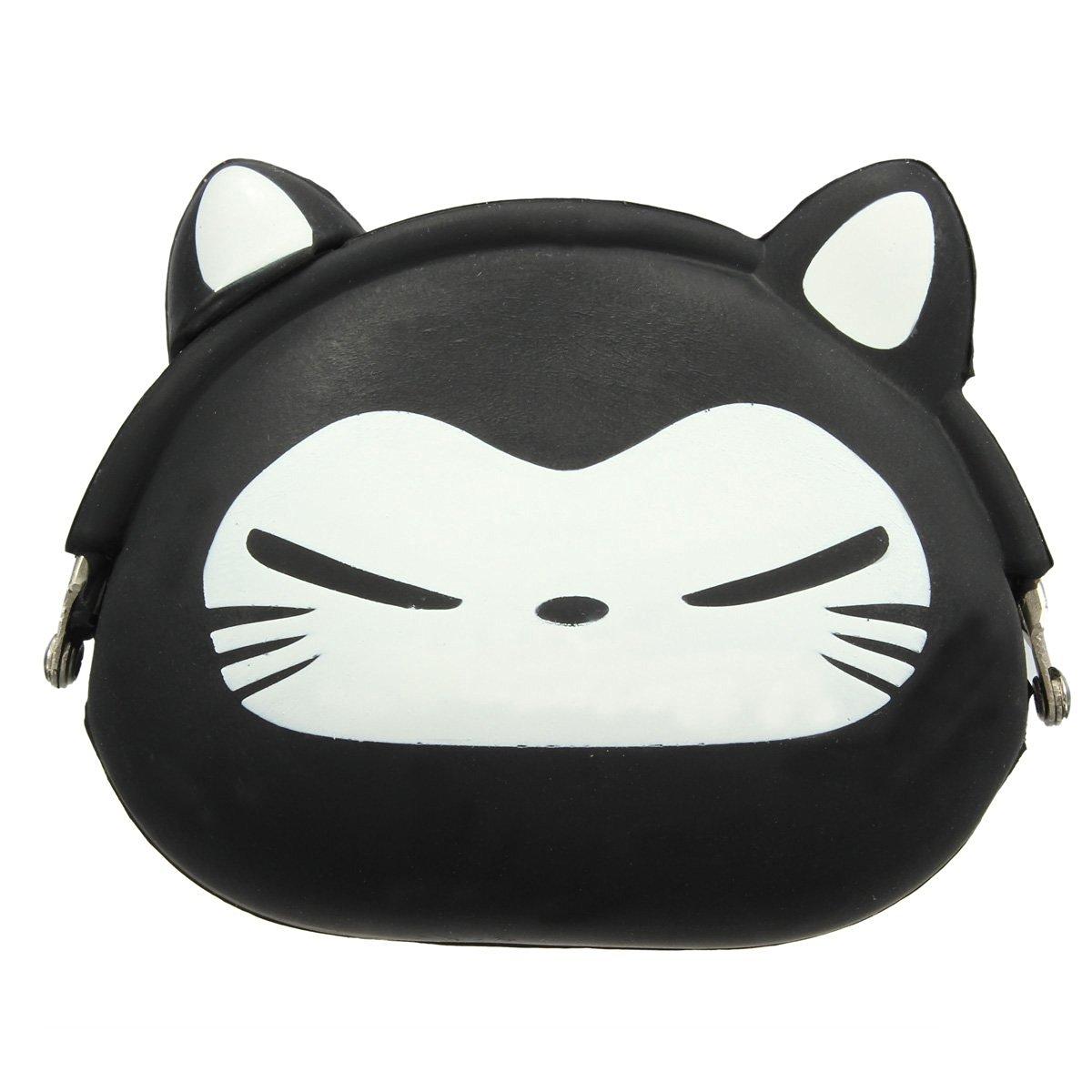5x Women Girls Wallet Kawaii Cute Cartoon Animal Silicone Jelly Coin Bag Purse Kids Gift Black Fox