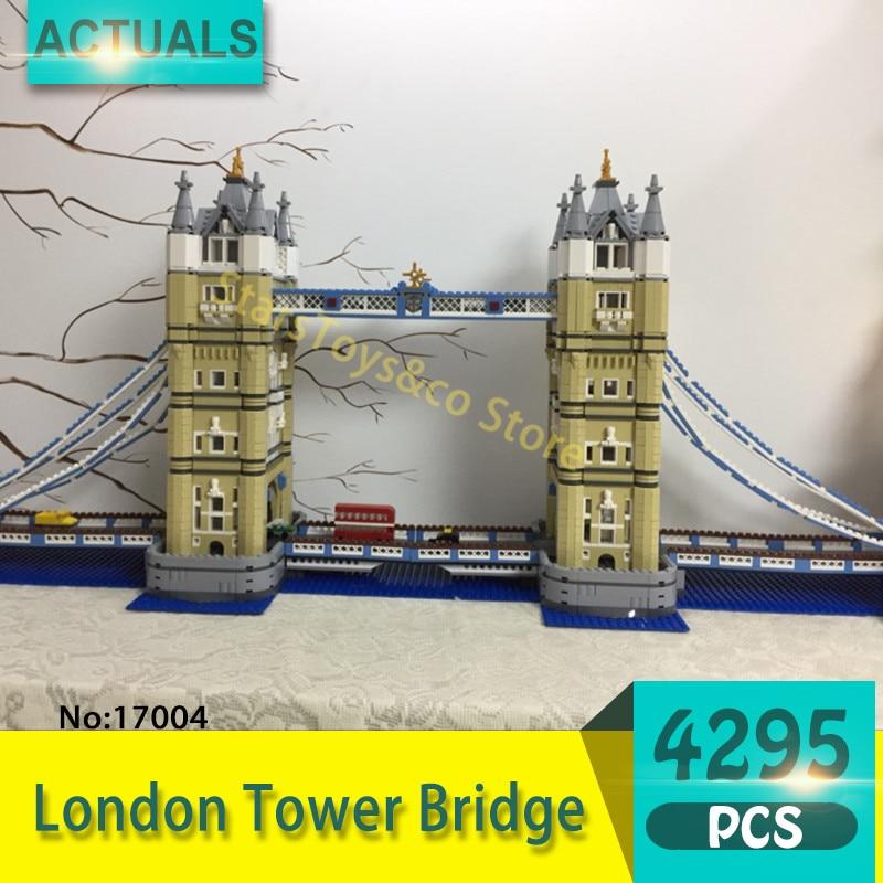 Lepin 17004 4295Pcs Street View series London Tower Bridge Model Building Blocks Set  Bricks Toys For Children Gift 10214 in stock new lepin 17004 city street series london bridge model building kits assembling brick toys compatible 10214