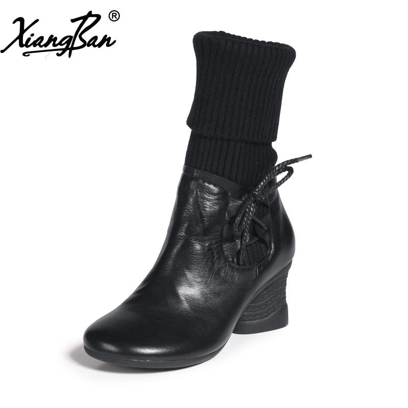 Genuína mulheres de couro botas de zíper lateral dedo do pé redondo salto grosso moda casual médio-leg botas senhoras sapatos pretos Xiangban