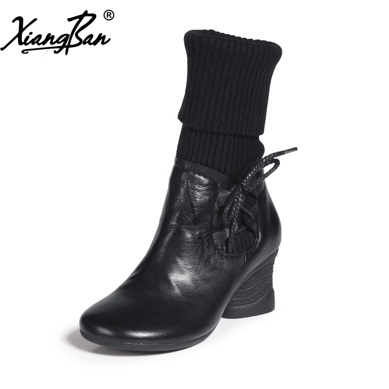 Genuine leather women boots side zipper round toe thick heel fashionable casual medium-leg boots ladies black shoes Xiangban black women ankle boots handmade vintage medium heel round head shoes elegant boots xiangban