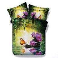 Schmetterling Orchidee Blume 3D Gedruckt Bettwäsche-sets Twin Voll Königin Cal Kingsize-bett Bettdecke Tröster Bettbezüge Erwachsene Bett