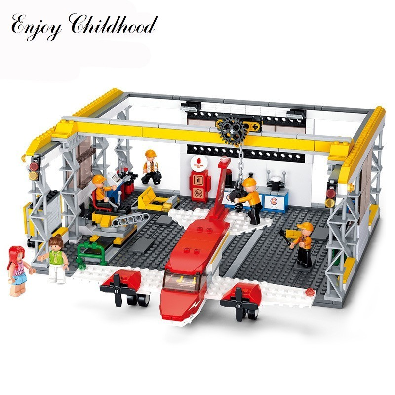 Sluban B0372 599pcs Small Aircraft Repair Shop Model Building Block Bricks Kits Toys Hobbies Gift For Kids Compatible With Legoe