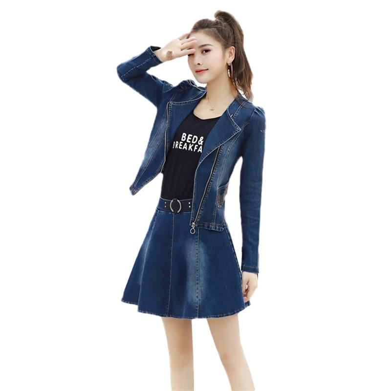 Blue Slim Printemps Nouvelle Pièces Dark 2019 Denim Tempérament Femmes girl Jia66 Automne Ensembles Mode Blue Jupe Deux light Manteau Cow qYHgFtq