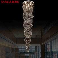 Светодиодный подвесной светильник для Обеденная современные лампы двойной винтовой лестнице светильники с K9 прозрачного хрусталя D70CM сере