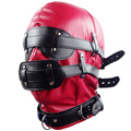 Red Hoods Mask Restraints Fetish PVC Soft Leather Sex Set Slave Harness Goggles Multiplex Adult Sex Game