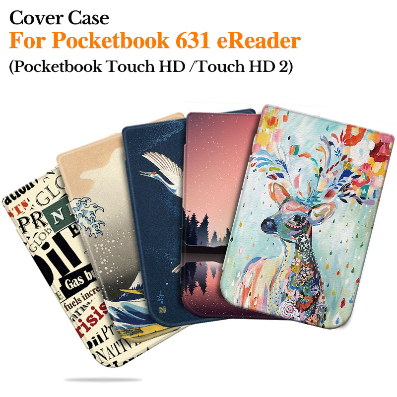BOZHUORUI Smart Cover For Pocketbook <font><b>631</b></font> Touch HD/Touch HD <font><b>2</b></font> Ruby Red eReader Fashion painted Shell Accessories with Sleep/wake image