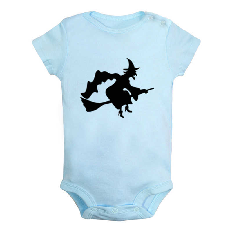 Черная летучая мышь ведьма Счастливый Хэллоуин ведьма черная кошка одежда для новорожденных девочек и мальчиков комбинезон с короткими рукавами, комбинезон, наряды из 100% хлопка